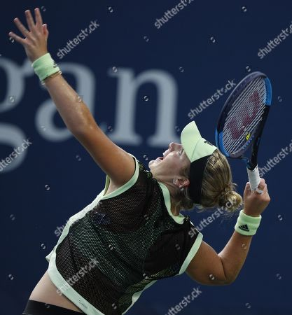 Catherine McNally of the US serves to Timea Bacsinszky of Switzerland on the first day of the US Open Tennis Championships the USTA National Tennis Center in Flushing Meadows, New York, USA, 26 August 2019. The US Open runs from 26 August through 08 September.