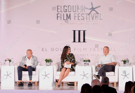 Egyptian businessmen Samih (R) and Naguib Sawiris (L) attend a press conference on the preparations for El-Gouna Film Festival, in Cairo, Egypt, 26 August 2019. El-Gouna Film Festival will be held between 19 and 27 September in the Red Sea resort of El-Gouna.