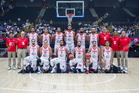teamphoto: , l-r: hintere Reihe, Mokhtar Ghayaza #11 (Tunesien), Mohamed Abassi #19 (Tunesien), Mouhamed Hadidane #9 (Tunesien), Salah Mejri #50 (Tunesien), Makram Ben Romdhane #12 (Tunesien), Radhouane Slimane #45 (Tunesien), l-r: vordere reihe, Ziyed Chennoufi #5 (Tunesien), Michael Roll #20 (Tunesien), Omor Mouhli #8 (Tunesien), Nizar Knioua #66 (Tunesien), Mourad El Mabrouk #7 (Tunesien), Omar Abada #4 (Tunesien) and Chef-Trainer Mario Palma (Tunesien), Germany vs. Tunesien, Basketball, pre season friendly, FIBA World Cup 2019, 23.08.2019