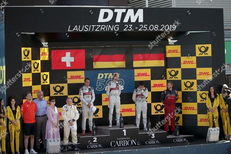 25.08.2019, Lausitzring, Klettwitz, DTM 2019, Lausitzring,23.08. - 25.08.2019 ,  winner  des 500. DTM Rennens Rene Rast (DEU#33), Audi Sport Team Rosberg, 2.Platz fuer Nico Mueller (CHE#51), Audi Sport Team Abt Sportsline, 3.Platz fuer Mike Rockenfeller (DEU#99), Audi Sport Team Phoenix