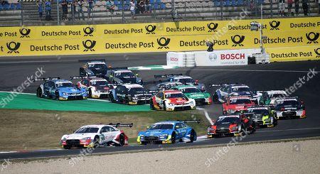 Stock Photo of 25.08.2019, Lausitzring, Klettwitz, DTM 2019, Lausitzring,23.08. - 25.08.2019 ,  Rennstart: Jamie Green (GBR#53), Audi Sport Team Rosberg, Rene Rast (DEU#33), Audi Sport Team Rosberg, Robin Frijns (NL#4), Audi Sport Team Abt Sportsline, Jonathan Aberdein (ZAF#27), WRT Team Audi Sport, Joel Eriksson (SWE#47), BMW Team RBM, Marco Wittmann (DEU#11), BMW Team RMG Nico Mueller (CHE#51), Audi Sport Team Abt Sportsline