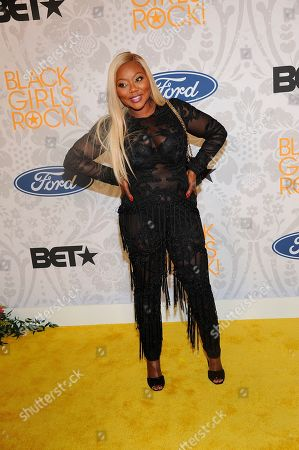 Stock Picture of LaTocha Scott arrives at the red carpet at the 2019 Black Girls Rock! Awards at the New Jersey Performing Arts Center, in Newark, NJ