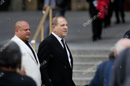 Stock Image of Harvey Weinstein leaves court, in New York. Weinstein's lawyers want the trial moved from New York City to Long Island or upstate New York - part of the last-minute wrangling that includes efforts by prosecutors to bolster their case with testimony from actress Annabella Sciorra, who says Weinstein raped her in the 1990s. Weinstein has denied all accusations of non-consensual sex