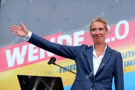 Alternative for Germany (AfD) party faction co-chairwoman in the German parliament Bundestag Alice Weidel speaks during an election campaign of the Alternative for Germany party (AfD) in Oranienburg, Brandenburg, Germany, 26 August 2019. The event takes place few days ahead of the upcoming regional state elections in Brandenburg on 01 September 2019.