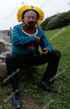 Chief Raoni Metuktire, leader of the Kayapo people a Brazilian Indigenous group and living symbole of the fight for preservation of the Amazon Rainforest, attends a news conference on the sidelines of the G7 summit in Bidart, France, 26 August 2019. The G7 Summit runs from 24 to 26 August in Biarritz.