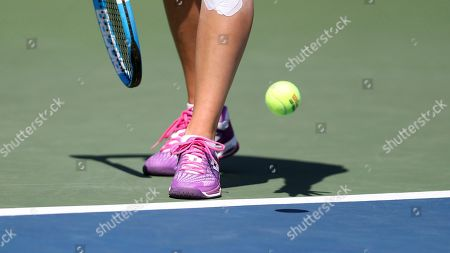 Jana Cepelova, of Slovakia, prepares to serve to Su-Wei Hsieh, of Taiwan, during the first round of the US Open tennis tournament, in New York