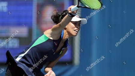 Su-Wei Hsieh, of Taiwan, serves to Jana Cepelova, of Slovakia, during the first round of the US Open tennis tournament, in New York