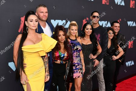 Jenni J-Woww Farley, Zack Clayton Carpinello, Nicole Snooki Polizzi, Lauren Sorrentino, Angelina Pivarnick, Chris Larangeira, Deena Nicole Cortese, Christopher Buckner. Jenni J-Woww Farley, from left, Zack Clayton Carpinello, Nicole Snooki Polizzi, Lauren Sorrentino, Angelina Pivarnick, Chris Larangeira, Deena Nicole Cortese and Christopher Buckner arrive at the MTV Video Music Awards at the Prudential Center, in Newark, N.J