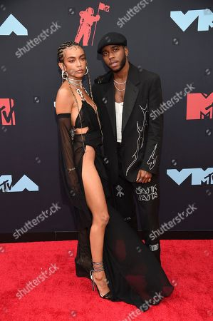 Bianca Leonor Quinones, left, and 6lack arrive at the MTV Video Music Awards at the Prudential Center, in Newark, N.J