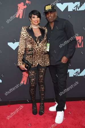 Stock Image of Sandra Denton, also known as Pepa, from Salt-N-Pepa, and James Maynes arrive at the MTV Video Music Awards at the Prudential Center, in Newark, N.J