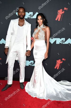 Safaree Samuels, left, and Erica Mena Samuels arrive at the MTV Video Music Awards at the Prudential Center, in Newark, N.J