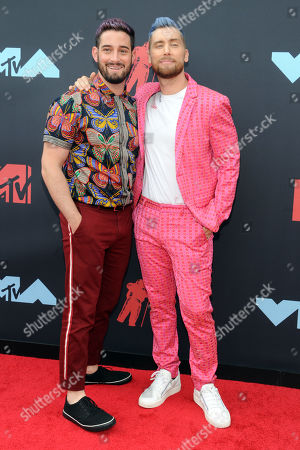 Lance Bass (R) and husband Michael Turchin arrive on the red carpet for the 2019 MTV Video Music Awards at Prudential Center in Newark, New Jersey, USA, 26 August 2019