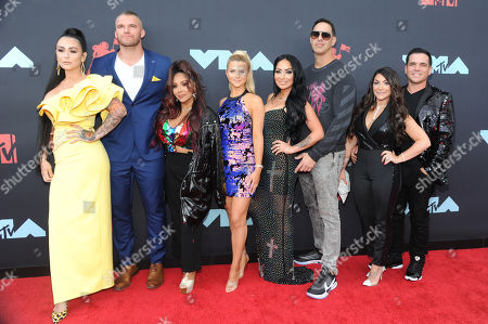 Stock Photo of Jenni Farley, Clayton Carpinello, Nicole Polizzi, Lauren Sorrentino, Amy Paffrath, Angela Pivarnick and Deena Nicole Buckner of the Jersey Shore cast arrive on the red carpet for the 2019 MTV Video Music Awards at Prudential Center in Newark, New Jersey, USA, 26 August 2019