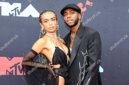 US singer Bianca Leonor Quinones (L), known as Quin, and US rapper 6lack (R) arrive on the red carpet for the 2019 MTV Video Music Awards at Prudential Center in Newark, New Jersey, USA, 26 August 2019