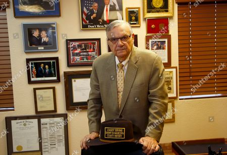 Former Arizona Maricopa County Sheriff Joe Arpaio poses for a portrait after talking about trying to get back the job he lost in 2016 as he announces his 2020 campaign for Maricopa County Sheriff, in Fountain Hills, Ariz