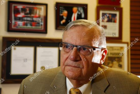 Former Arizona Maricopa County Sheriff Joe Arpaio stands in his office after announcing his 2020 campaign for Maricopa County Sheriff, trying to get back the job he lost in 2016, in Fountain Hills, Ariz