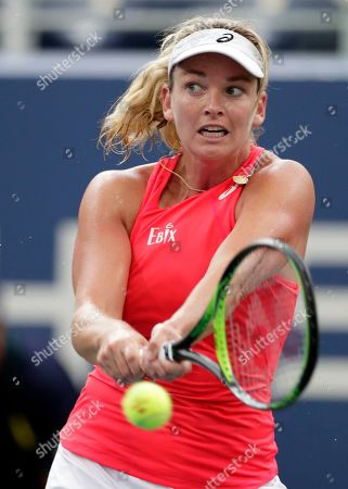 CoCo Vandeweghe returns a shot to Sofia Kenin during the first round of the U.S. Open tennis tournament, in New York