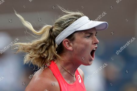 CoCo Vandeweghe reacts during a match against Sofia Kenin in the first round of the U.S. Open tennis tournament, in New York