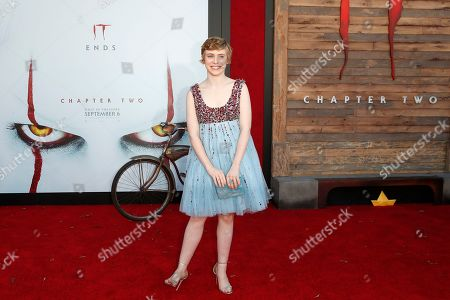 Sophia Lillis arriving for the world premiere of Warner Bros. Pictures' It Chapter Two at the Regency Village Theater in Westwood, Los Angeles, California, USA 26 August 2019. The movie opens in the US 06 September 2019.