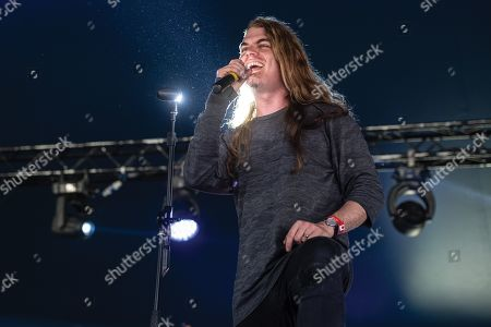 Maidstone United Kingdom - July 1: Vocalist Daniel Estrin Of Australian Progressive Metal Group Voyager Performing Live On Stage During Ramblina Man Fair At Mote Park Maidstone On July 1