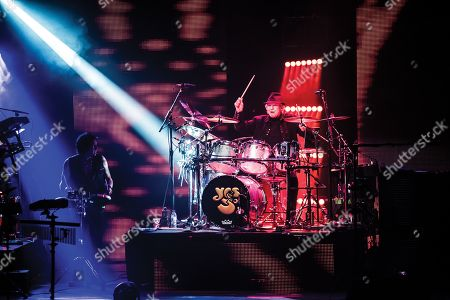 London United Kingdom - March 25: Drummer Alan White Of English Progressive Rock Group Yes Performing Live On Stage At The Palladium In London On March 25