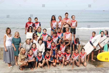 Stock Image of Melania Trump, Malgorzata Tusk, Jenny Morrison, Cecilia Morel, Brigitte Macron visiting Cote des Basques beach in Biarritz