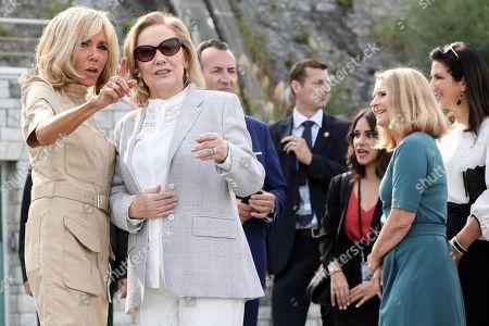 Brigitte Macron, Cecilia Morel visiting Cote des Basques beach in Biarritz