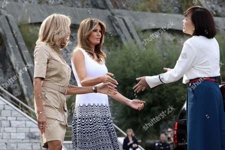Brigitte Macron, Melania Trump, Akie Abe visiting Cote des Basques beach in Biarritz