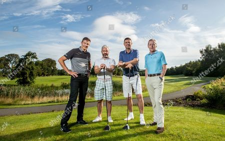 Stock Image of Pictured at the PREM Group Irish Masters Pro Am at the stunning Tulfarris Hotel & Golf Resort, Blessington, Co Wicklow, is Simon Thornton, Tulfarris Touring Professional, Stephen Hunt, Niall Quinn and Jim Murphy, CEO of PREM Group. The PREM Group Irish Masters is the penultimate tournament on the EuroPro Tour and takes place at Tulfarris Hotel & Golf Resort from Wednesday August 28th-Friday August 30st. Some of the famous names to take part in the Pro Am competition were former Irish professional footballers, Stephen Hunt and Niall Quinn. They were led out by Tulfarris Touring Professional Simon Thornton.