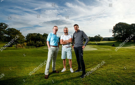 Stock Picture of Pictured at the PREM Group Irish Masters Pro Am at the stunning Tulfarris Hotel & Golf Resort, Blessington, Co Wicklow, is Jim Murphy, CEO of PREM Group, Stephen Hunt and Simon Thornton, Tulfarris Touring Professional. The PREM Group Irish Masters is the penultimate tournament on the EuroPro Tour and takes place at Tulfarris Hotel & Golf Resort from Wednesday August 28th-Friday August 30st. Some of the famous names to take part in the Pro Am competition were former Irish professional footballers, Stephen Hunt and Niall Quinn. They were led out by Tulfarris Touring Professional Simon Thornton.