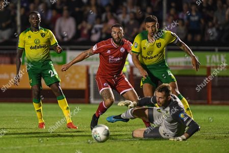 27th August 2019 , Broadfield Stadium, Crawley, England; Carabao Cup Football, Second Round, Crawley Town vs Norwich City ;Ollie Palmer(9) nearly beats the keeper but it goes wide Credit: Phil Westlake/News Images English Football League images are subject to DataCo Licence