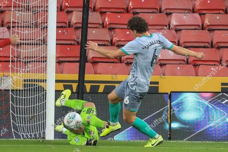 27th August 2019 , Bramall Lane, Sheffield, England; Carabao Cup Football, Second Round, Sheffield United vs Blackburn Rovers ; Simon Moore (25) of Sheffield United saves Richie Smallwood (6) of Blackburn Rovers?s shot on goal after Adam Armstrong (7) of Blackburn Rovers misses a penalty  Credit: Mark Cosgrove/News Images English Football League images are subject to DataCo Licence
