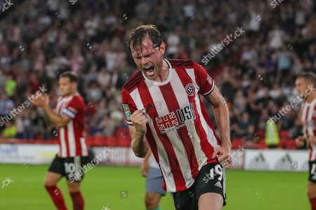 27th August 2019 , Bramall Lane, Sheffield, England; Carabao Cup Football, Second Round, Sheffield United vs Blackburn Rovers ; Richard Stearman (19) of Sheffield United celebrates his goal to make it 1-0