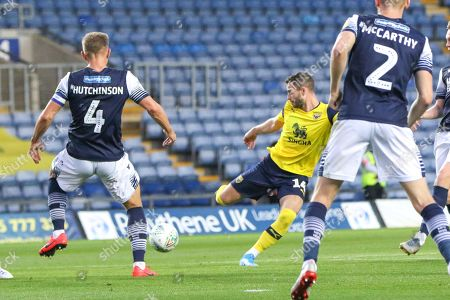 27th August 2019 , Kassam Stadium, Oxford, England; Carabao Cup Football, Second Round, Oxford United vs Millwall  ; Anthony Forde (14) of Oxford shoots  Credit: Matt O?Connor/News Images English Football League images are subject to DataCo Licence