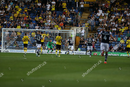 27th August 2019 , Kassam Stadium, Oxford, England; Carabao Cup Football, Second Round, Oxford United vs Millwall  ; Jon Daoi Boovarsson (23) of Millwall scores to make it 0-1 Credit: Matt O?Connor/News Images English Football League images are subject to DataCo Licence