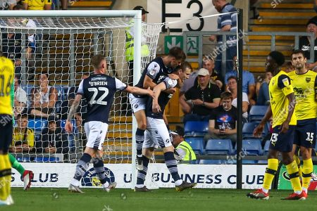 27th August 2019 , Kassam Stadium, Oxford, England; Carabao Cup Football, Second Round, Oxford United vs Millwall  ; ,Jon Daoi Boovarsson celebrates his goal to make it 0-1 Credit: Matt O?Connor/News Images English Football League images are subject to DataCo Licence