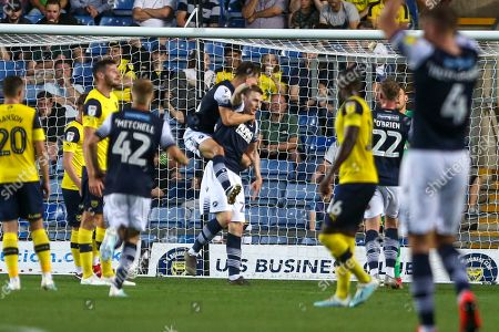 27th August 2019 , Kassam Stadium, Oxford, England; Carabao Cup Football, Second Round, Oxford United vs Millwall  ; Jon Daoi Boovarsson (23) of Millwall celebrates his goal to make it 0-1 Credit: Matt O?Connor/News Images English Football League images are subject to DataCo Licence