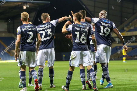 27th August 2019 , Kassam Stadium, Oxford, England; Carabao Cup Football, Second Round, Oxford United vs Millwall  ;Jon Daoi Boovarsson (23) of Millwall celebrates his goal to make it 0-2 Credit: Matt O?Connor/News Images English Football League images are subject to DataCo Licence