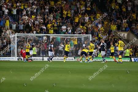 27th August 2019 , Kassam Stadium, Oxford, England; Carabao Cup Football, Second Round, Oxford United vs Millwall  ; James Henry (17) of Oxford celebrates his goal to make it 2-2 Credit: Matt O?Connor/News Images English Football League images are subject to DataCo Licence