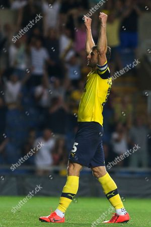 27th August 2019 , Kassam Stadium, Oxford, England; Carabao Cup Football, Second Round, Oxford United vs Millwall  ;John Mousinho (15) of Oxford celebrates his goal to make it 4-2  Credit: Matt O?Connor/News Images English Football League images are subject to DataCo Licence