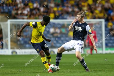 27th August 2019 , Kassam Stadium, Oxford, England; Carabao Cup Football, Second Round, Oxford United vs Millwall  ;Jon Daoi Boovarsson (23) of Millwall wins he ball Credit: Matt O?Connor/News Images English Football League images are subject to DataCo Licence