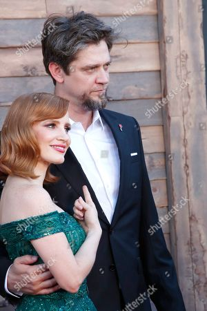 Jessica Chastain (L) and Argentinian director Andy Muschietti (R) arrive for the world premiere of the Warner Bros. Pictures 'It - Chapter Two' at the Regency Village Theater in Westwood, Los Angeles, California, USA, late 26 August 2019 (issued 27 August 2019). The movie will be shown in the US from 06 September 2019.