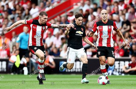 Daniel James of Manchester United and Oriol Romeu of Southampton.
