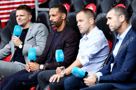 Jake Humphrey, Rio Ferdinand, Joe Cole and Martin Keown are seen pitch side for BT Sport.