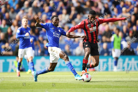 Ricardo Pereira of Leicester City is challenged by Jefferson Lerma of Bournemouth.