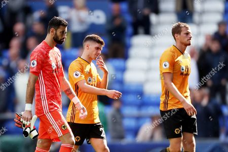 Wolverhampton Wanderers goalkeeper Rui Patricio shows a look of dejection as he leaves the pitch at full time