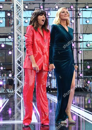 Stock Image of Presenters Claudia Winkleman and Tess Daly on stage
