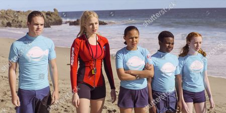 Stock Photo of Ricardo Hurtado as Tyler, Jackie R. Jacobson as Dylan, Breanna Yde as Gina, Alkoya Brunson as Eric Mitchell and Abby Donnelly as Lizzie McGrath
