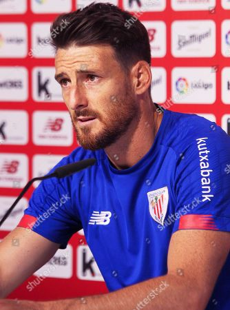 Athletic Bilbao's Aritz Aduriz speaks during a press conference at the club's facilities in Lezama, near Bilbao, Spain, 27 August 2019. Athletic Bilbao will face Real Sociedad in their Spanish La Liga soccer match on 30 August 2019.