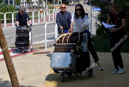 Stacy Martin and Daniel Blumberg arrives at Venice airport.